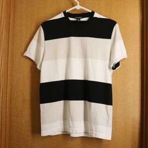 Club Monaco Color Block White Cream Black Tee M